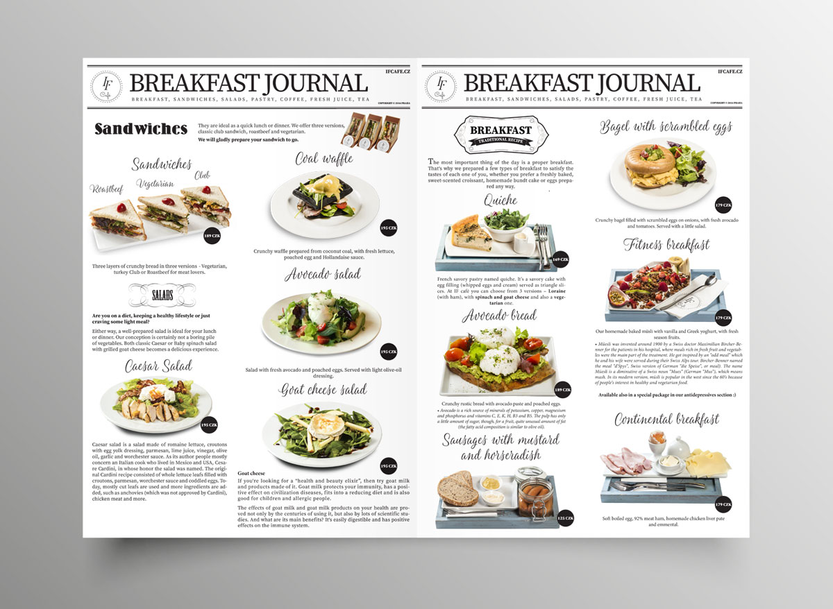 sazba a grafika menu restaurace