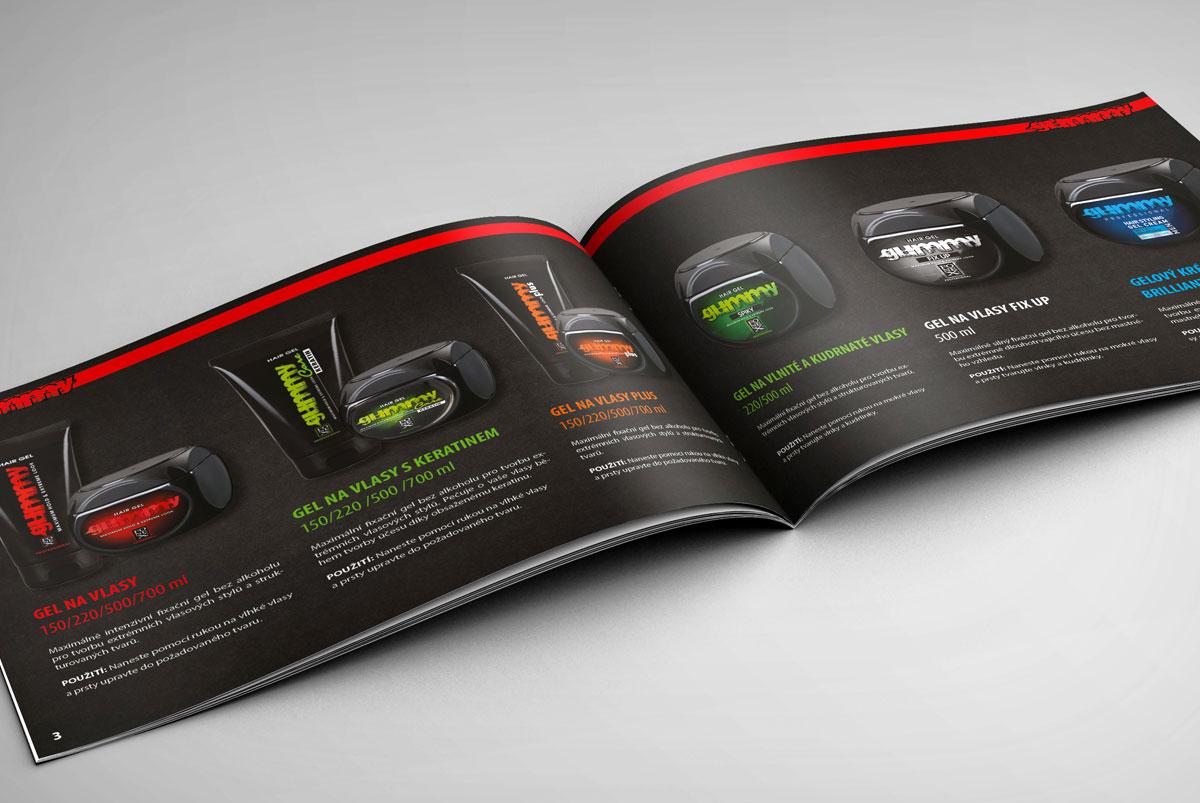 grafický návrh katalogu s kosmetikou